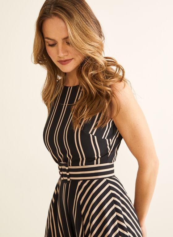 Stripe Print Belted Dress, Black
