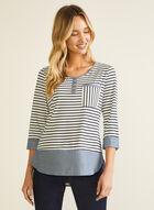 Denim Detail Striped T-Shirt, White