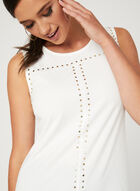 Sleeveless Studded Top, Off White, hi-res