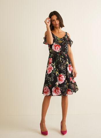 Joseph Ribkoff - Cold Shoulder Floral Dress, Black,  day dress, floral, cold shoulder, chiffon, v-neck, jersey, ruffled, spring summer 2020