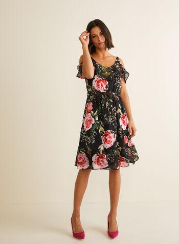Joseph Ribkoff - Robe fleurie à épaules dénudées, Noir,  robe de jour, épaules dénudées, fleurs, mousseline, col v, bretelles, mousseline, printemps été 2020