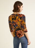 Floral Print Ruched Sleeve Top, Blue