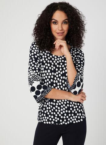 Polka Dot Print Jersey Top, Blue,  jersey, blouse, polka dot, spring 2019, made in Canada