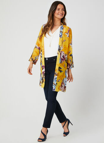 Floral Print Open Front Duster, Yellow,  tunic, ¾ sleeves, 3/4 sleeves, blouse, summer 2019