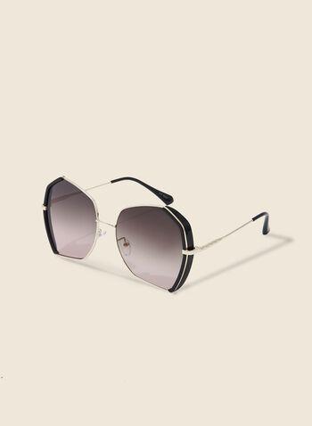 Lunettes de soleil géométriques, Noir,  lunettes de soleil, métal, plastique, géométrique, printemps été 2020
