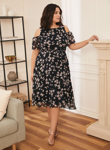 Floral Print Cold Shoulder Dress, Blue,  dress, floral, cold shoulder, scoop neck, short sleeves, fit flare, tie belt, spring summer 2021