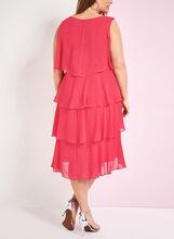 Sleeveless Tiered Chiffon Dress, Red, hi-res