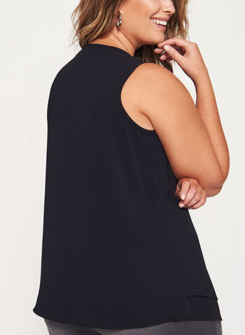 Sleeveless Double Layer Chiffon Top, Black, hi-res