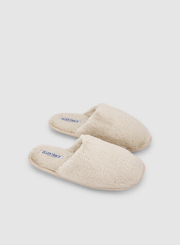 Ellen Tracy - Faux Fur Slippers, Off White,  mules, slippers, comfortable, holiday, fall 2019, winter 2019
