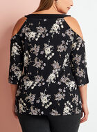 Floral Print Cold Shoulder Top, Black, hi-res