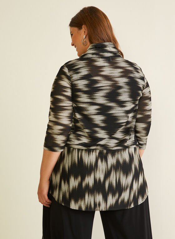 Joseph Ribkoff - Abstract Print Button Front Tunic, Black
