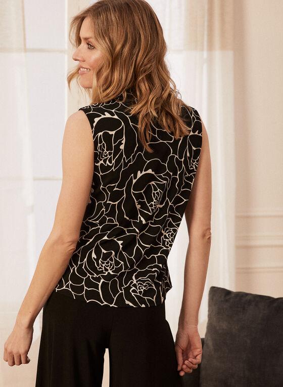 Tie Detail Floral Print Top, Black