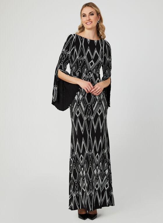 Bell Sleeve Jersey Glitter Dress, Black, hi-res