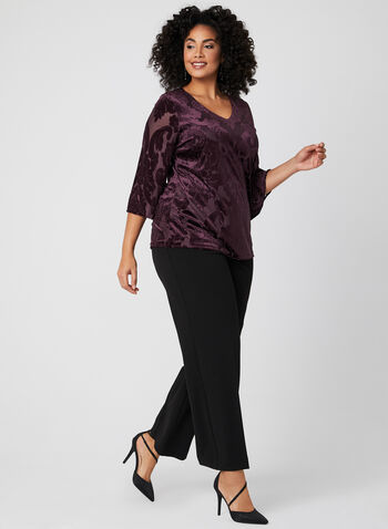 Flutter Sleeve Velvet Top , Red, hi-res