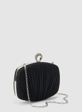Pleated Box Clutch, Black, hi-res,  clutch, box clutch, pleated, fall 2019, winter 2019