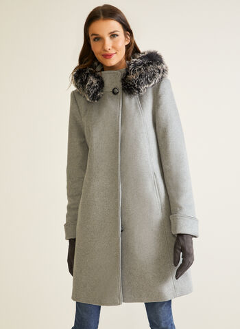 Wool Blend Fur Trim Coat, Grey,  fall winter 2020, coat, winter, hood, hooded, removable, faux fur, button, twill, wool blend