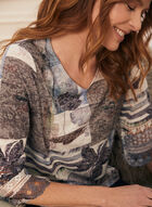 Mixed Print Lace Detail Top, Blue