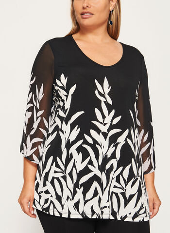 ¾ Sleeve Tunic Top, Black, hi-res