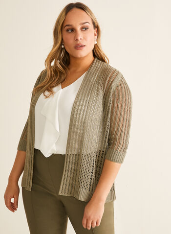 Pointelle Open Front Cardigan, Green,  spring summer 2020, cardigan, 3/4 sleeves, pointelle knit