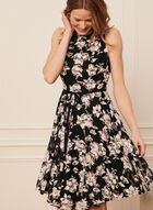 Floral Print Belted Dress, Black