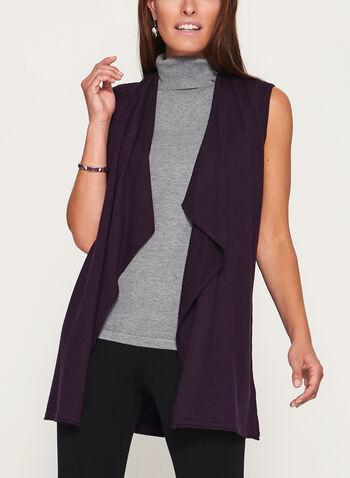 Cascade Front Sleeveless Knit Vest, Purple, hi-res