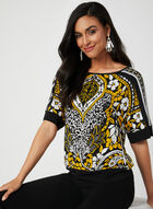 Aztec Print Dolman Sleeve Top, Black, hi-res