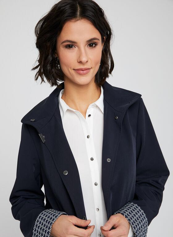 Manteau imperméable à capuchon amovible, Bleu