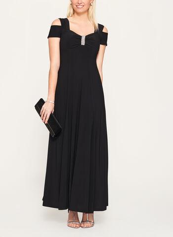 Crystal Sweetheart Neck Jersey Dress, Black, hi-res