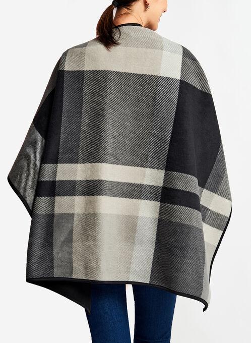 Plaid Print Poncho , Grey, hi-res