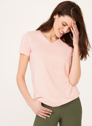 V-Neck T-Shirt, Pink, hi-res