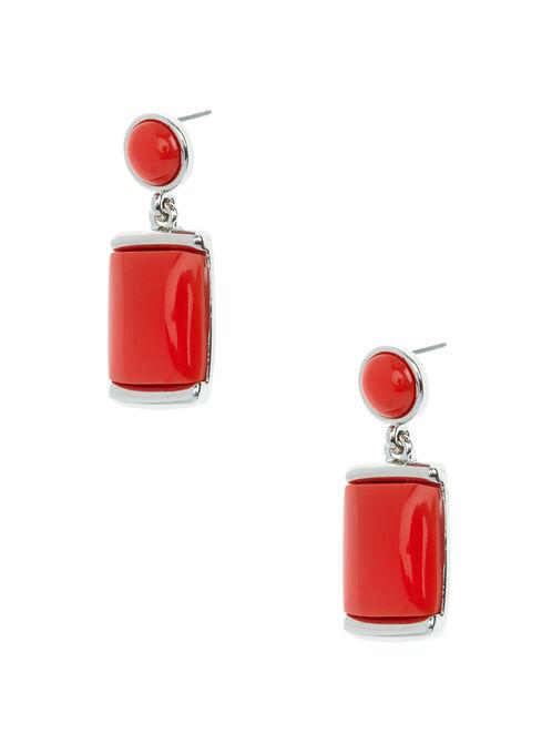 Boucles d'oreilles étagées avec pierres, Rouge, hi-res