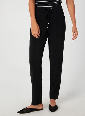 Pantalon coupe moderne avec lacets, Noir, hi-res,  pantalon, pull-on, moderne, lacets, jambe étroite, coutures, jersey, automne hiver 2019