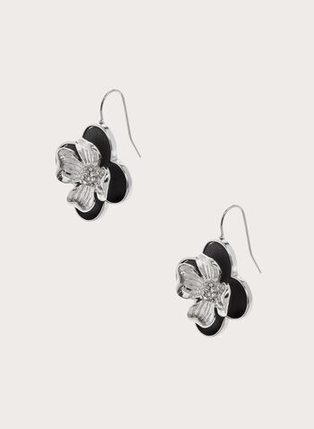 Metallic Flower Earring, Black, hi-res