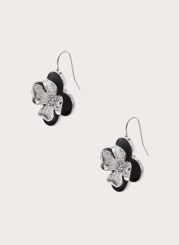 Boucles d'oreilles à fleurs superposées, Noir, hi-res