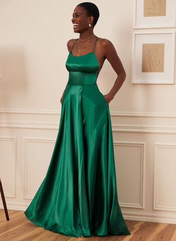 A-Line Satin Dress, Green,  prom dress, satin, sleeveless, spaghetti strap, full length, train, pockets, crossover back, a line, high slit, scoop neck, spring summer 2021