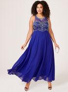 Robe longue avec corsage à motif de perles, Bleu, hi-res
