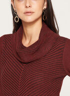 ¾ Sleeve Cowl Neck Knit Sweater , Brown, hi-res