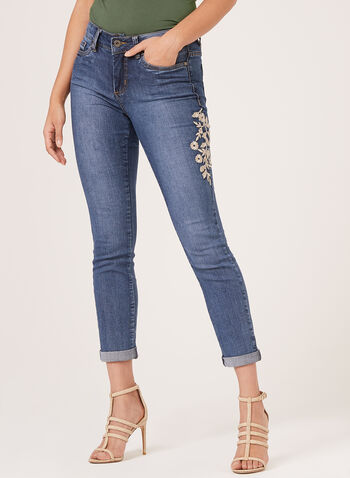 Frankie & Stella – Embroidered Slim Leg Jeans, Blue, hi-res