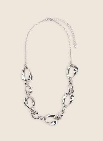 Chain-Link Necklace, Silver,  necklace, chain-link, metallic necklace, metallic, spring 2020, summer 2020