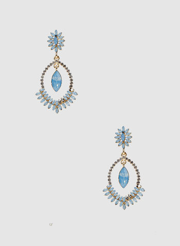 Tiered Crystal Dangle Earrings, Blue,  spring 2019, stone, crystals