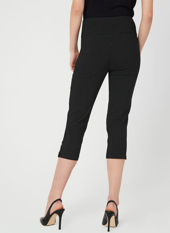 Polka Dot Print Capri Pants, Black