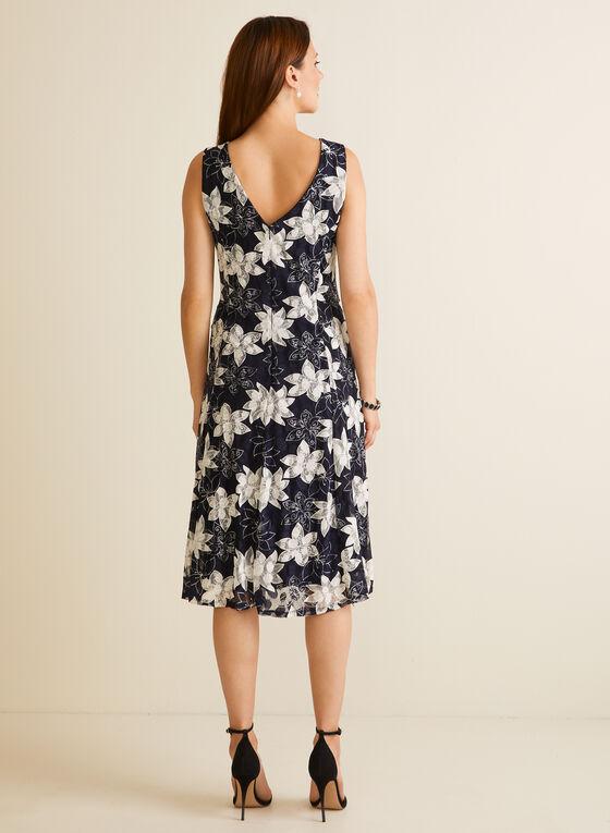 Floral Fit & Flare Dress, Blue