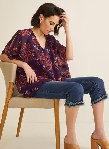 Blouse poncho motif cachemire, Violet,  blouse, poncho, cachemire, mousseline, asymétrique, manches ajourées, printemps été 2020