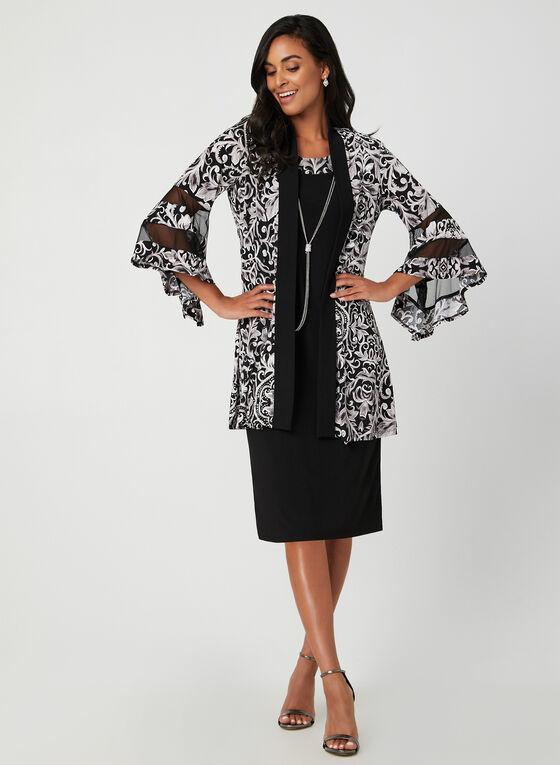 Robe et cardigan à motif floral, Noir