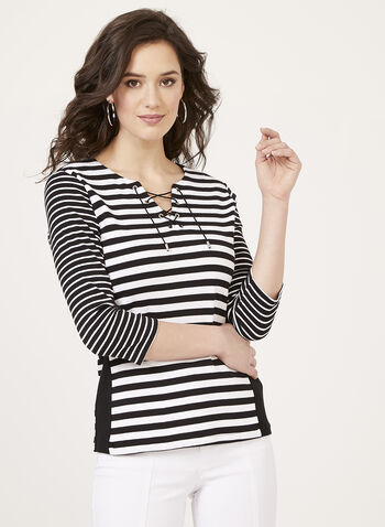 Stripe Print Lace Up Neck Top, Black, hi-res