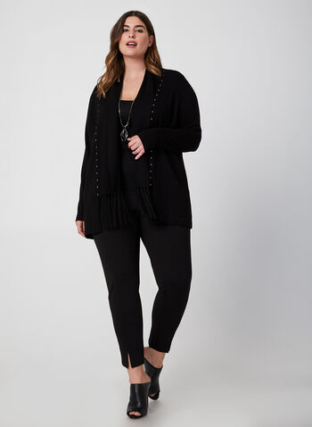 Open Front Fringe Cardigan, Black,  cardigan, knit, studs, fringes, open front, long sleeves, fall 2019, winter 2019