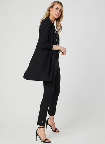 Knit Open Front Cardigan, Black, hi-res