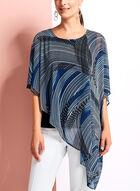 Asymmetric Abstract Print Poncho Blouse, Blue, hi-res