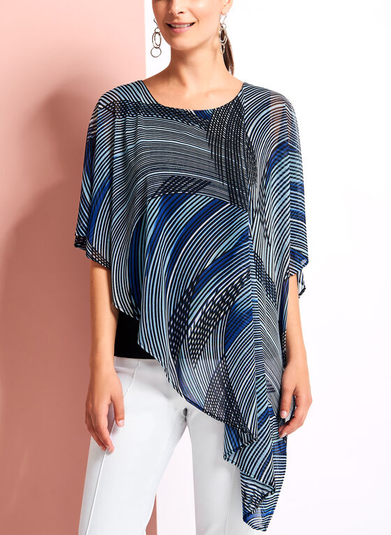 Asymmetric Abstract Print Poncho Blouse, Blue, hi-res