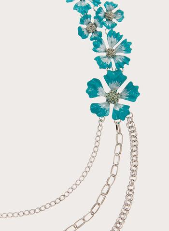 Collier à chaînes de différentes mailles et fleurs, Bleu, hi-res